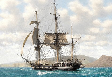 HMS Beagle in the Galapagos (painted by John Chancellor)