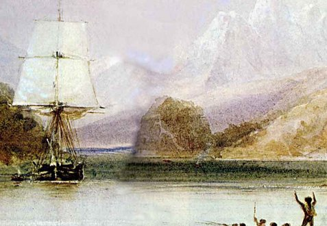 HMS Beagle off the Galapagos Islands (painted by John Chancellor)